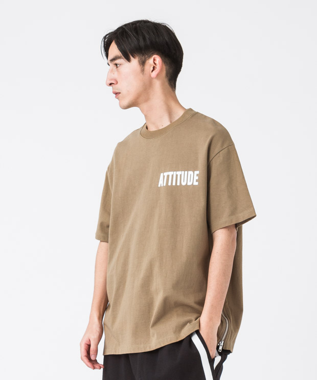 Side Zip Wide Printed T-Shirt(Attitude) - CAMEL