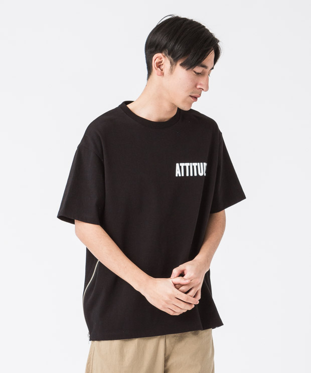 Side Zip Wide Printed T-Shirt(Attitude) - BLACK