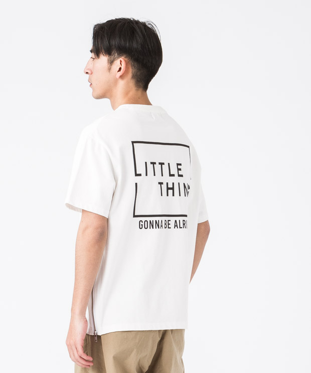 Side Zip Wide Printed T-Shirt(Attitude) - WHITE