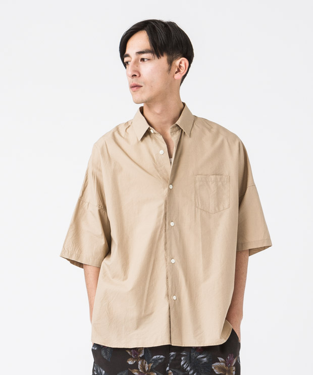 Typewriter Oversized Shirt - BEIGE