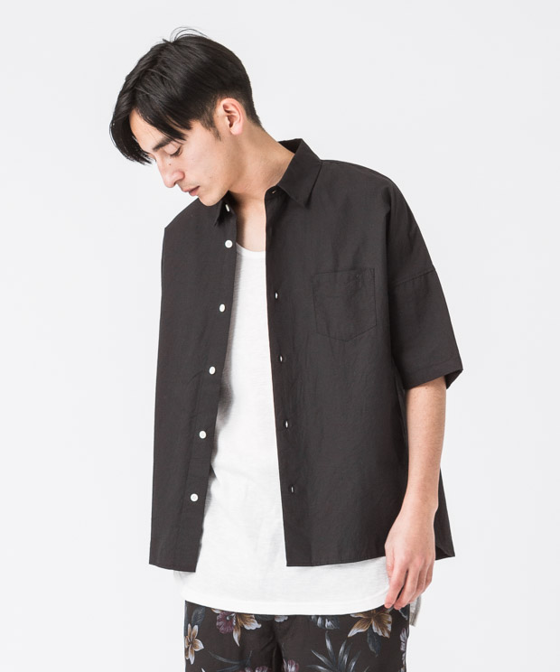 Typewriter Oversized Shirt - BLACK