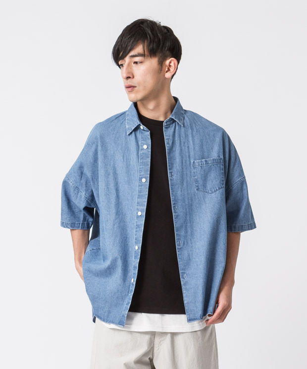 5.5Oz Denim Oversized Shirt - LIGHT INDIGO