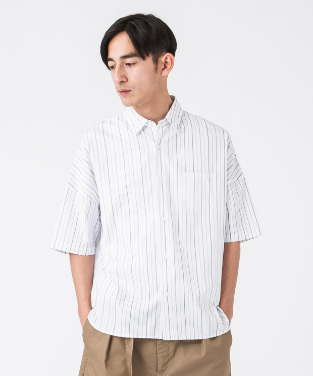 Broad Stripe Oversized Shirt - WHITE
