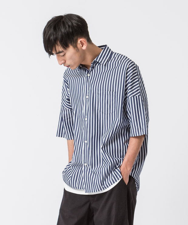 Broad Stripe Oversized Shirt - NAVY