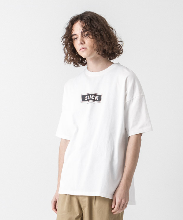 Dropped Shoulders Printed T-Shirt (Logo) - WHITE