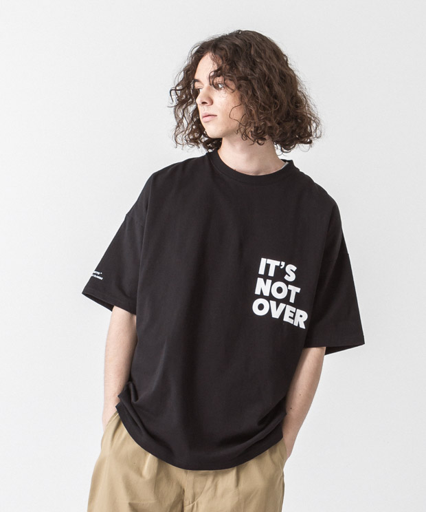 Dropped Shoulders Printed T-Shirt (It'S Not Over) - BLACK