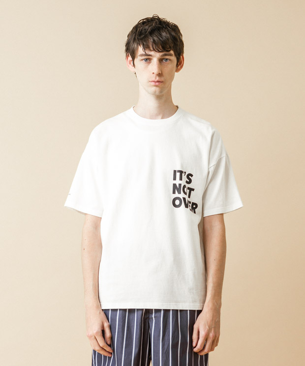 Dropped Shoulders Printed T-Shirt (It'S Not Over) - WHITE