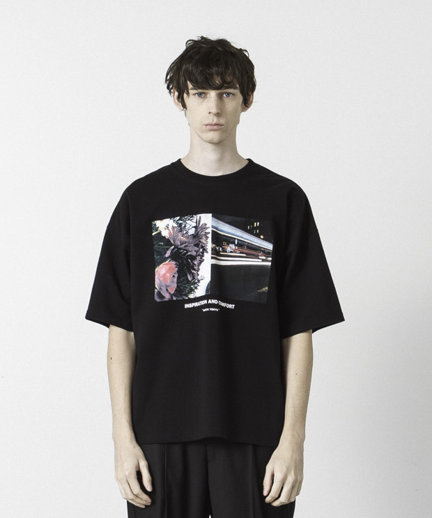 Dropped Shoulders Printed T-Shirt ( Inspiration ) - BLACK