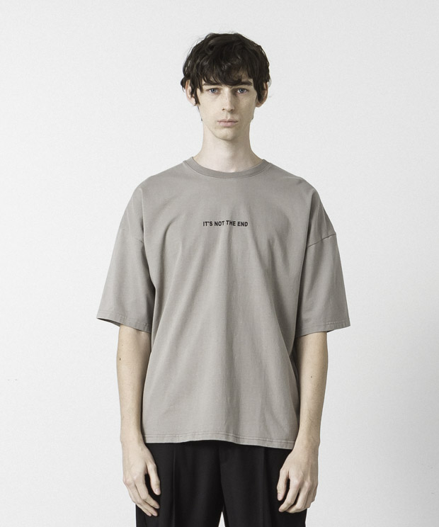 Dropped Shoulders Printed T-Shirt ( It's Not  ) - BEIGE