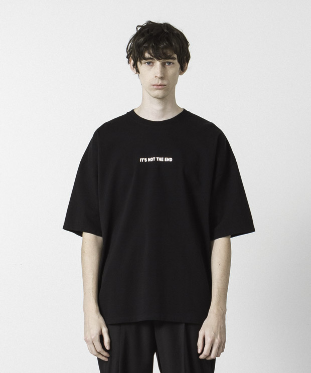 Dropped Shoulders Printed T-Shirt ( It's Not  ) - BLACK
