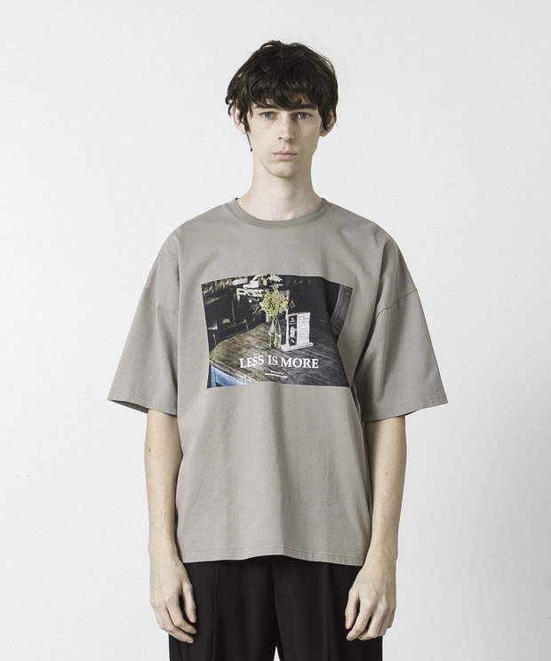 Dropped Shoulders Printed T-Shirt ( Less Is More ) - BEIGE