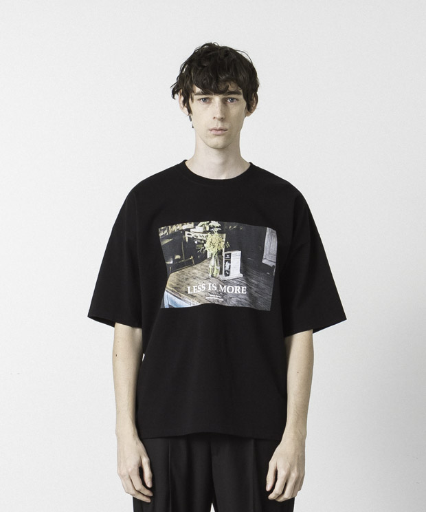 Dropped Shoulders Printed T-Shirt ( Less Is More ) - BLACK