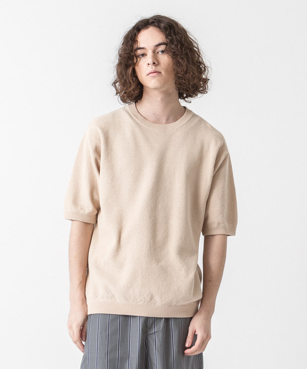 High-Twist Pique Pullover Knit - NATURAL