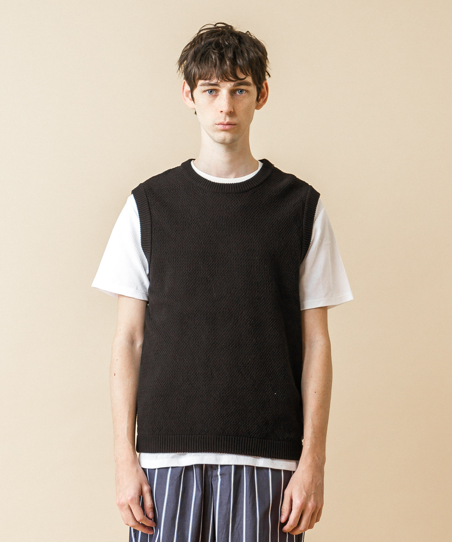 High-Twist Pique Knit Vest - BLACK