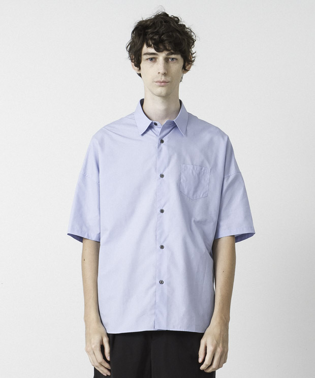 Cotton Tencel Typewriter Dropped Shoulders Shirt  - SAX