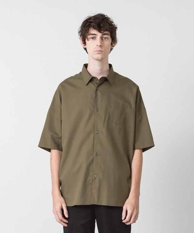 Cotton Tencel Typewriter Dropped Shoulders Shirt  - KHAKI