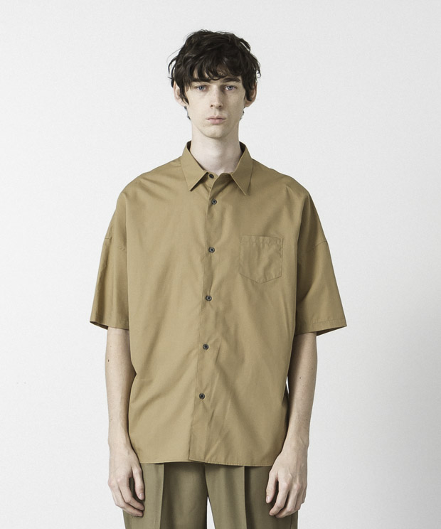 Cotton Tencel Typewriter Dropped Shoulders Shirt  - BEIGE