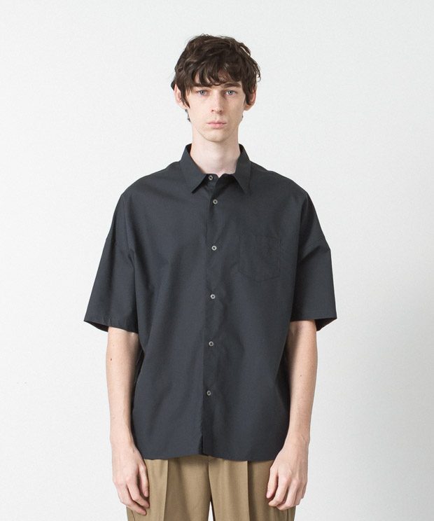 Cotton Tencel Typewriter Dropped Shoulders Shirt  - BLACK