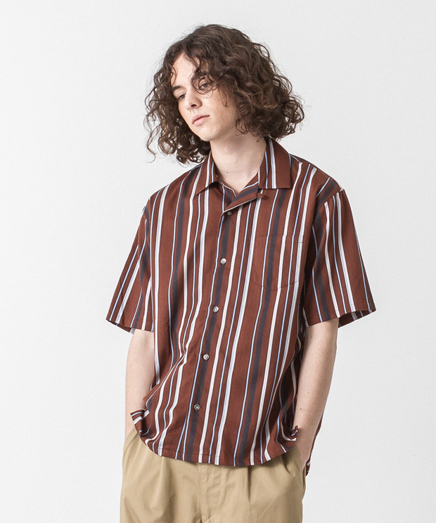 [予約商品] C/R Striped Open Collar Shirt - BROWN