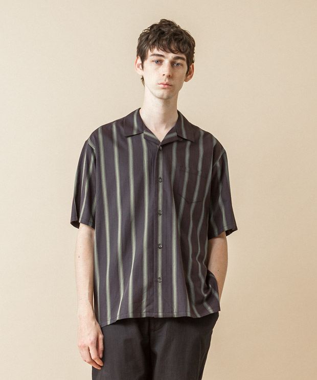 [予約商品] C/R Striped Open Collar Shirt - CHARCOAL