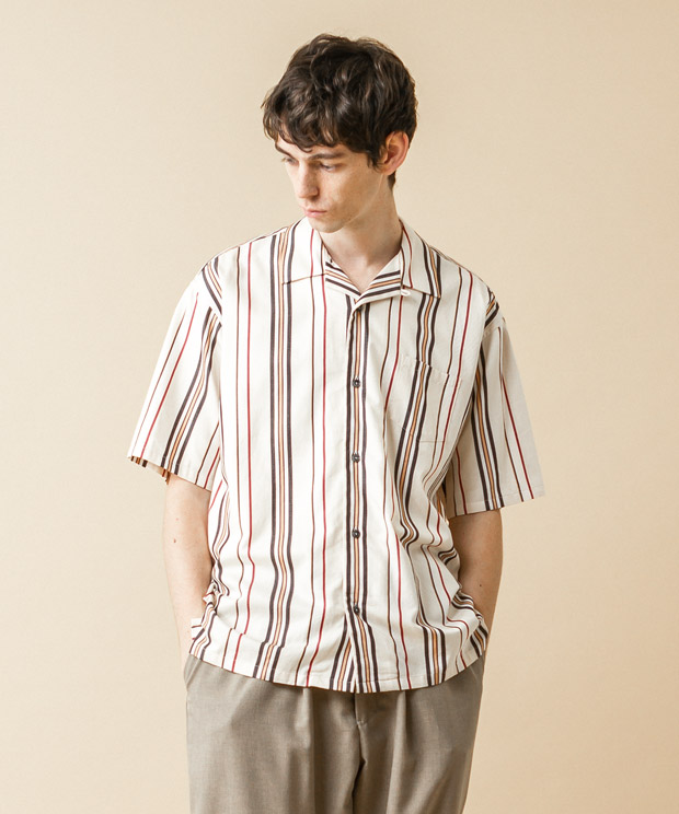 [予約商品] C/R Striped Open Collar Shirt - NATURAL