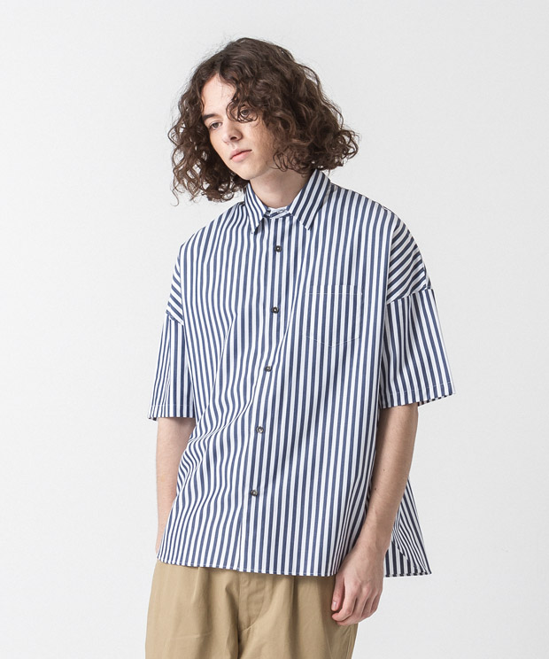 Striped Dropped Shoulders Shirt - NAVY/WHITE