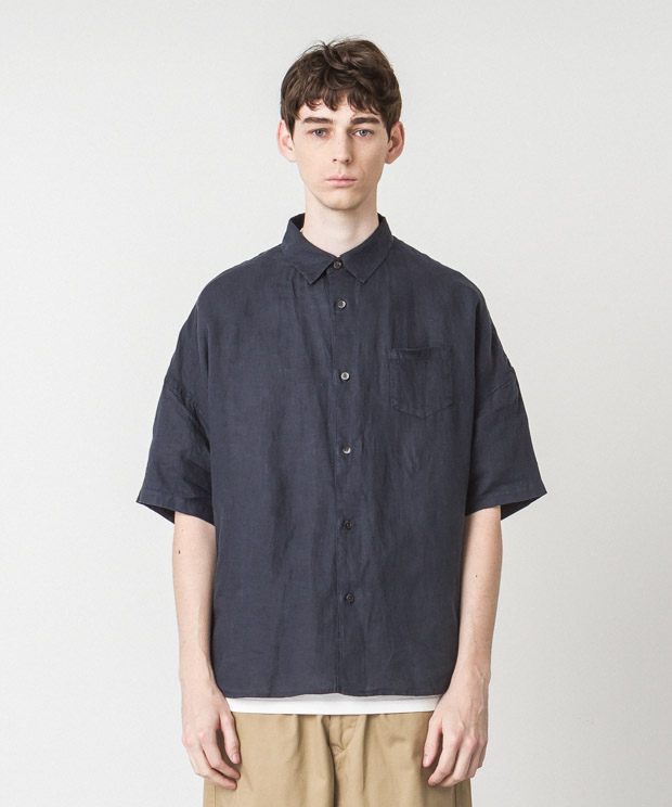 Linen Dropped Shoulders Shirt - NAVY