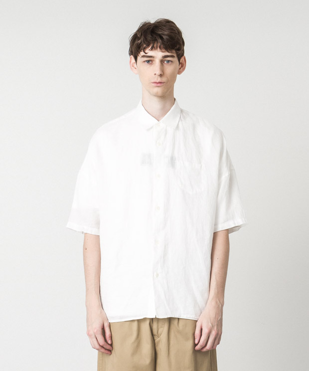 Linen Dropped Shoulders Shirt - WHITE