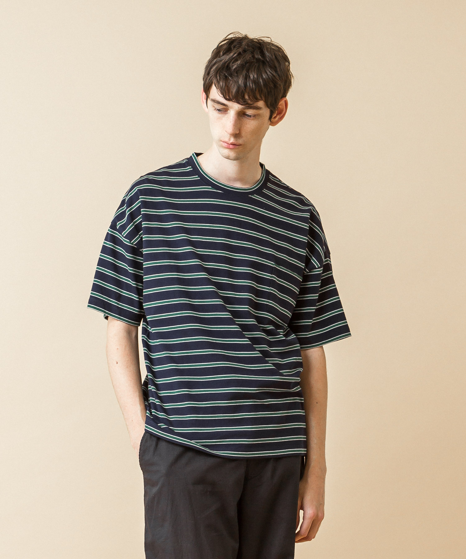 Dropped Shoulders Border T-Shirt - NAVY