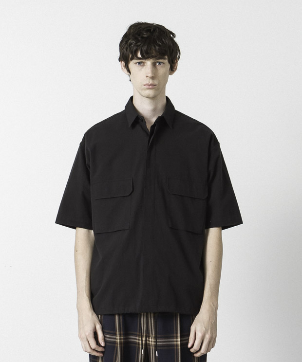 Seersucker Shirt Jacket - BLACK