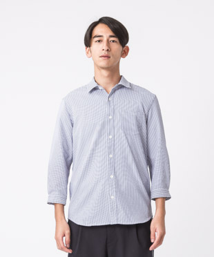 Evalet Seersucker 3/4 Sleeves Shirt - STRIPE