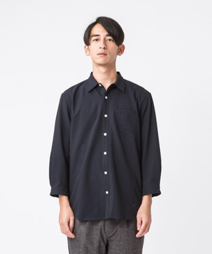 Evalet Seersucker 3/4 Sleeves Shirt - NAVY