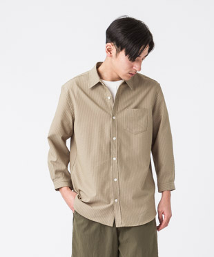 Evalet Seersucker 3/4 Sleeves Shirt - BEIGE