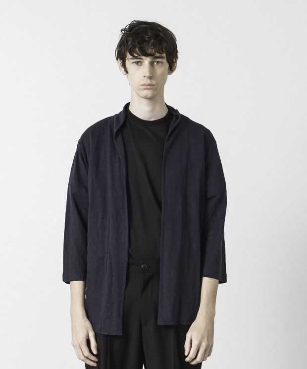 Linen Buttonless Cardigan - NAVY