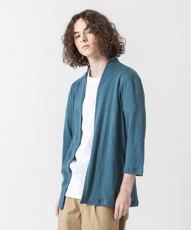 Linen Buttonless Cardigan - GREEN