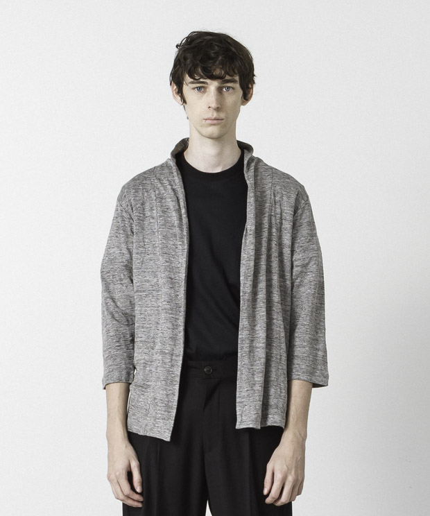 Linen Buttonless Cardigan - GRAY