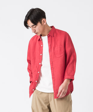 Linen Poplin 3/4 Sleeves Shirt - RED
