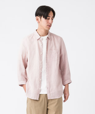 Linen Poplin 3/4 Sleeves Shirt - PINK
