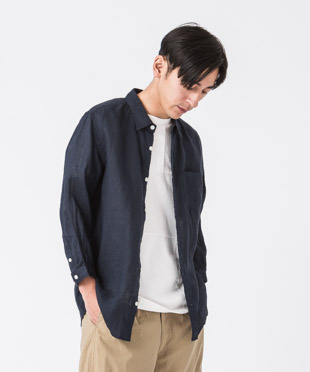 Linen Poplin 3/4 Sleeves Shirt - NAVY
