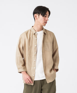 Linen Poplin 3/4 Sleeves Shirt - BEIGE