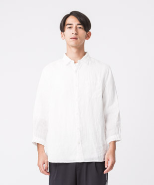 Linen Poplin 3/4 Sleeves Shirt - WHITE