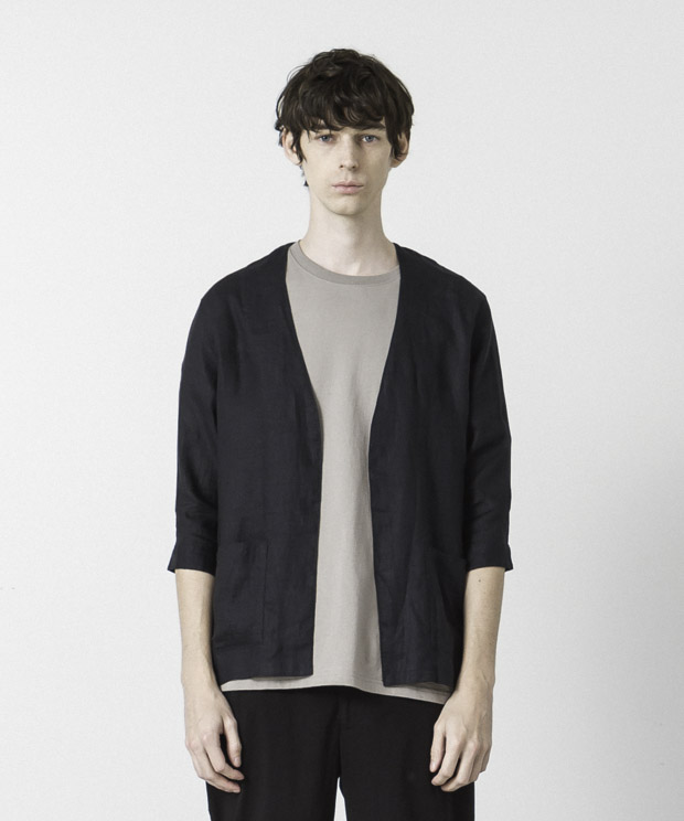 Linen Buttonless Shirt Cardigan - NAVY