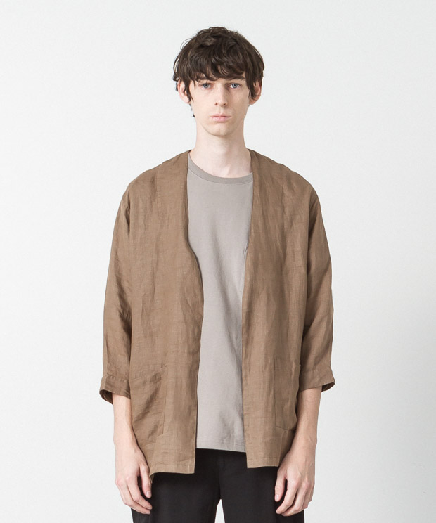 Linen Buttonless Shirt Cardigan - KHAKI
