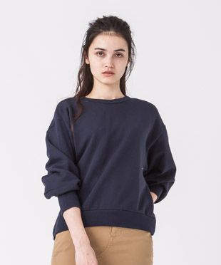 [予約販売]Volume Sleeves Sweatshirt - NAVY