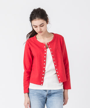 Crewneck Cardigan - RED
