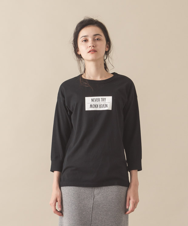 3/4 Sleeves Printed T-Shirt (Never Try) - BLACK