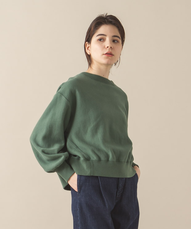 Vintage Sweat Volume Sleeves Crewneck - GREEN