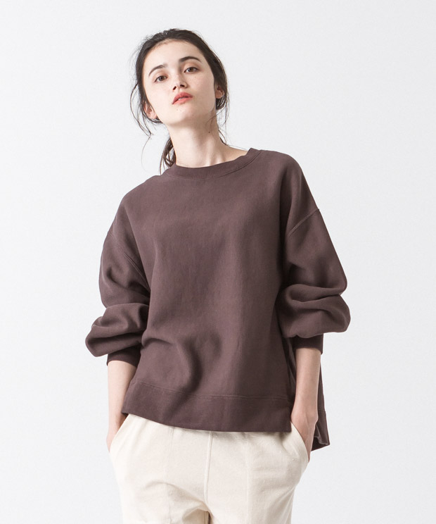 Vintage Sweat Volume Sleeves Crewneck - BROWN