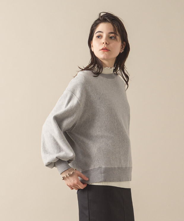 Vintage Sweat Volume Sleeves Crewneck - GRAY