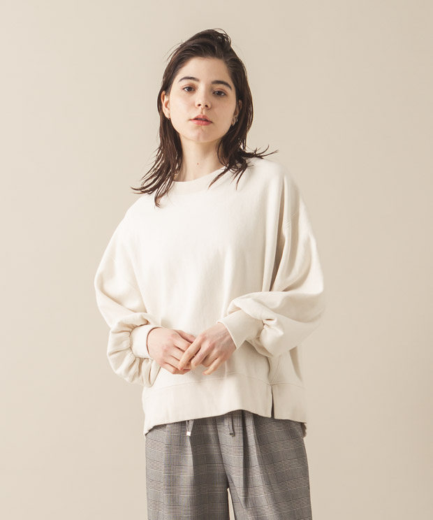 Vintage Sweat Volume Sleeves Crewneck - IVORY